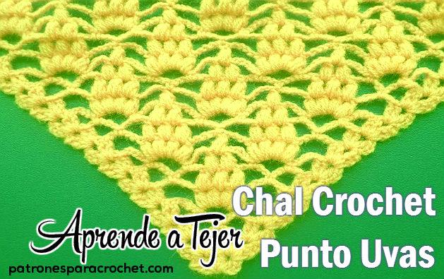 Chal crochet triangular punto uvas para tejer con video tutorial