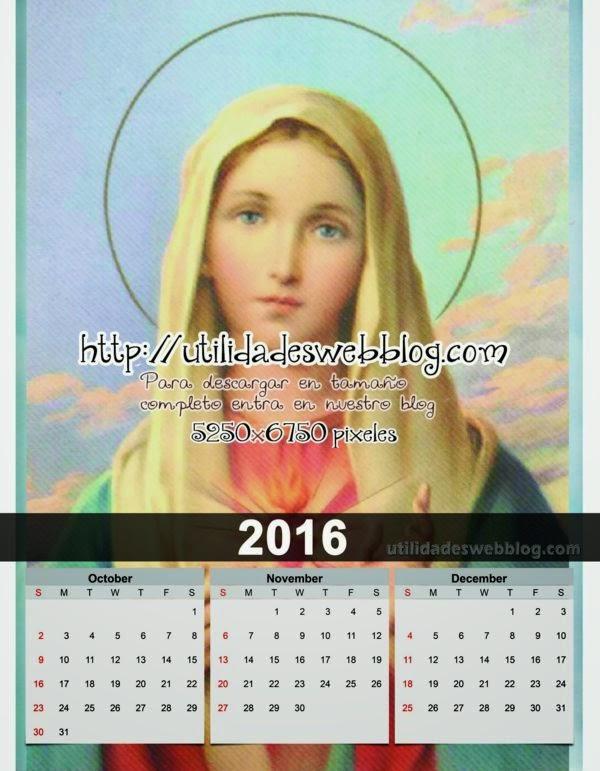 Calendario católico trimestral 2016 Octubre, Noviembre y Diciembre para imprimir del Inmaculado Corazón de Maria