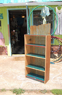 Custom designed Icehouse II bookcase is assembled from reclaimed, repurposed wood sourced locally in Asheville, NC
