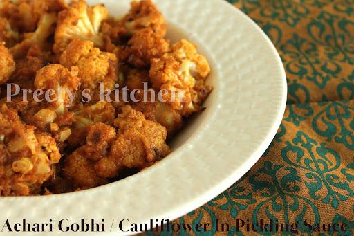 Preety's Kitchen: Achari Gobhi / Cauliflower In Pickling Sauce (Step ...