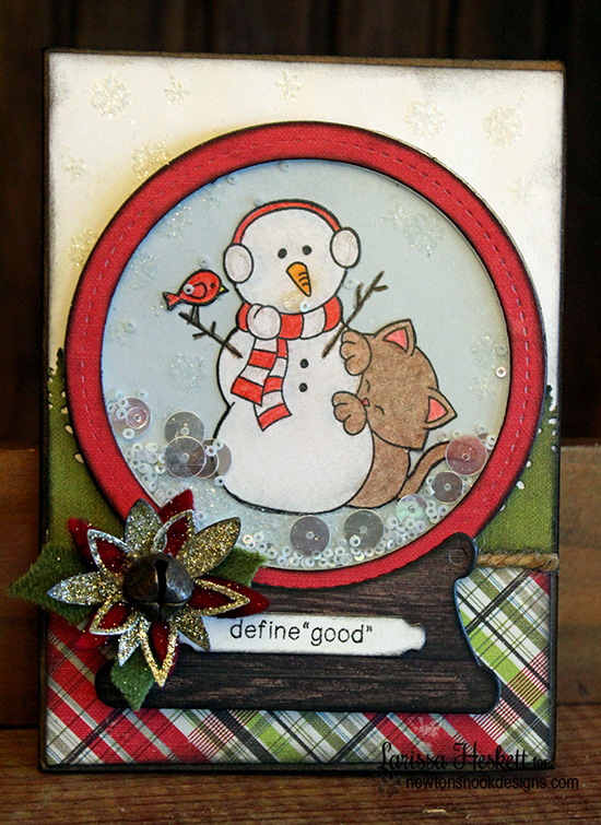 Christmas kitty and Snowman card by Larissa Heskett for Newton's Nook Designs - Newton's Curious Christmas Cat stamp set