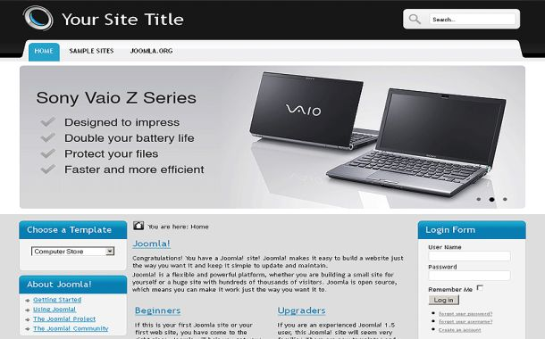 Free Blue Computers Store Joomla Theme Template