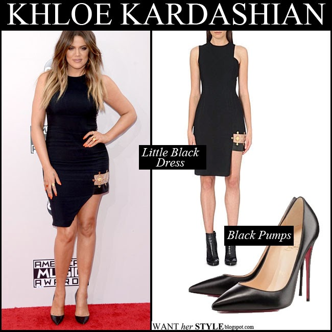 Khloe Kardashian in black asymmetric mini dress by Versus x Anthony Vaccarello with black pumps Louboutin So Kate want her style where to buy AMA red carpet