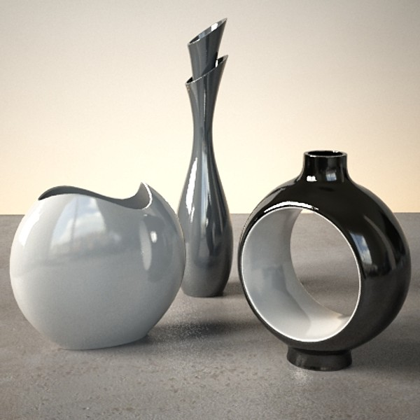 مزهريات أنيقة وعصرية الزخرفية لديكور المنزل Modern-vase-black+and+white