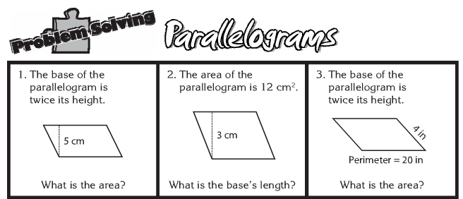 Eclectic Montage Review AIMS Area Formulas for Parallelograms – Area of Parallelograms Worksheet
