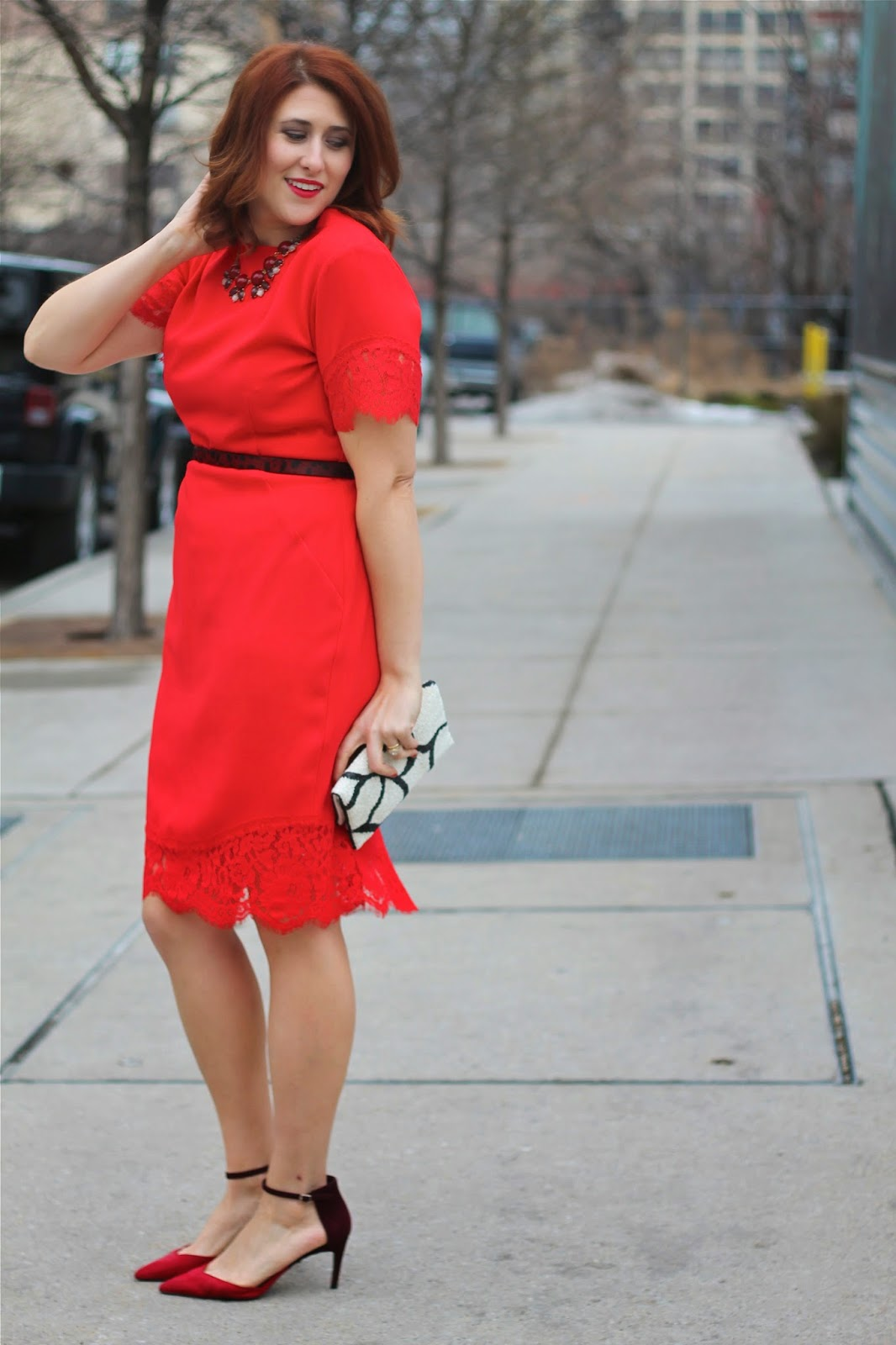 Red Lace Dress H&m