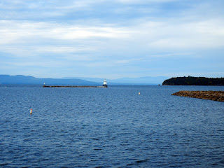 Views of Lake Champlain and lighthouse from Burlington, Vermont