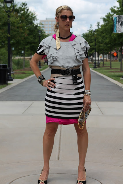 black and white stripe piano dress, hot pink aryn k dress, grey anthropologie dress, JJ Winters chain purse, Blinde Natural Born Thrillers sunglasses, J. Crew shoes, Raina Belt, Vintage jewelry