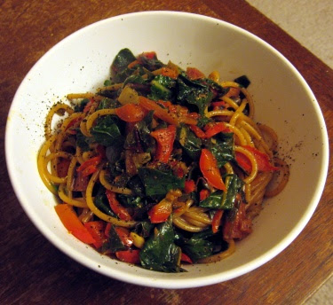 whole wheat spaghetti with chard