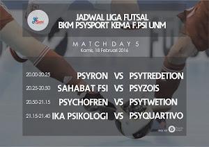 Jadwal Liga Liga Futsal Psikologi UNM Musim 2016