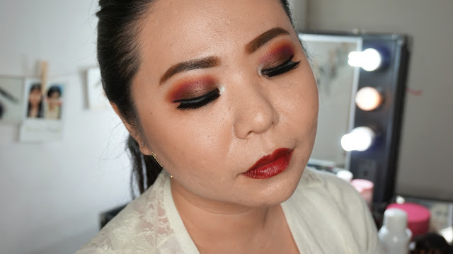 Fall Makeup Tutorial with warm red and brown eyes and dark red lipstick. using wet n wild lipstick in dark cherry and coastal scent 120 eyeshadow palette. Come and Join my Makeup and Hairdo Course to learn the technique with Theresia Feegy in Jakarta. Available for Personal Makeup Course, Advance Intense Pro Makeup Course, One Day Wedding Makeup Course and Basic Hairdo Course. For pricing and inquiries, kindly email to muses.wonderland@yahoo.com
