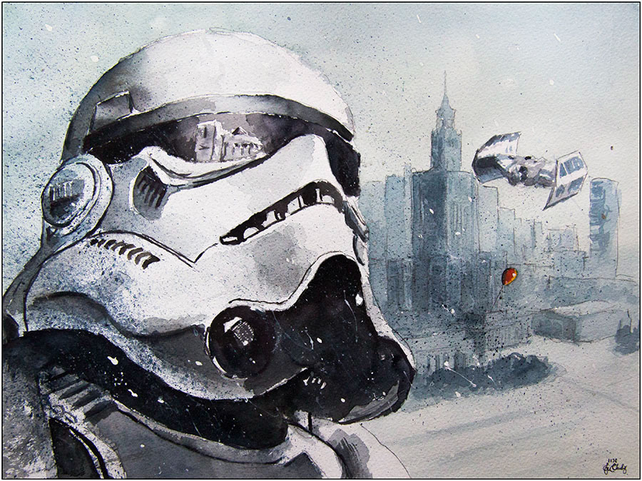06-Stormtrooper-Warsaw-Grzegorz-Chudy-Paintings-of-Star-Wars-worlds-in-Watercolors-www-designstack-co