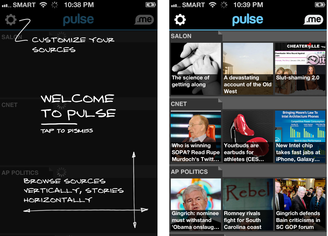 Pulse News iPhone app screen shots.