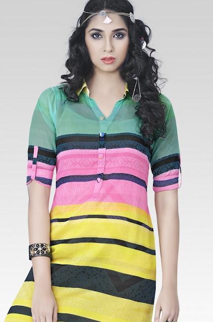 Multicolor Chiffon Printed Kurti