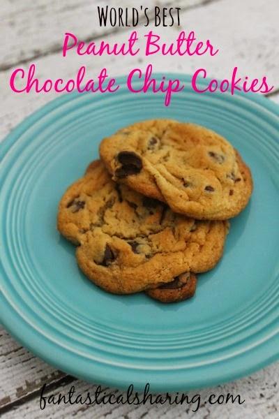 World's Best Peanut Butter Chocolate Chip Cookies | Just what your chocolate chip cookies needed: PEANUT BUTTER!! #cookies #recipe