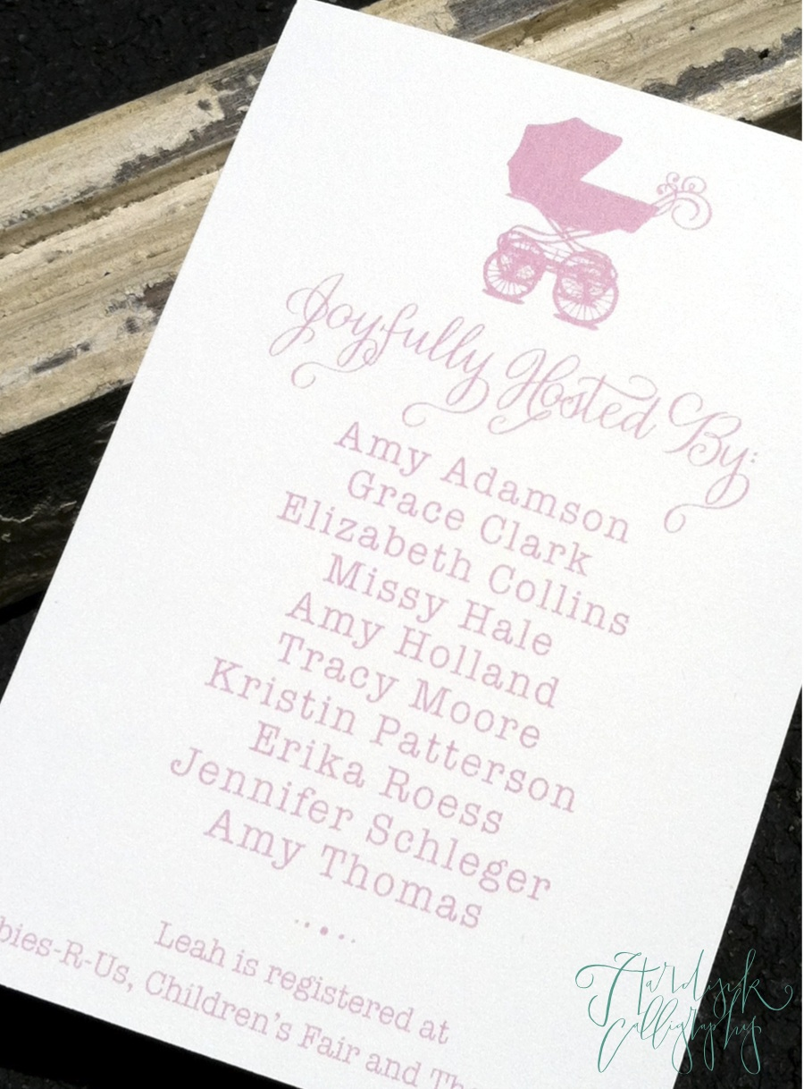 hardink calligraphy recent project elegant baby shower invitation