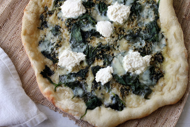 neapolitan spinach pesto and ricotta pizza recipe from cherryteacakes.com