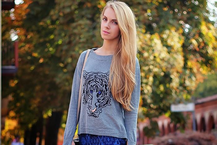 zara, grey, blue, tiger sweater, casual