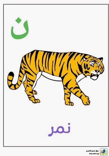 ملصق تعليمي للأطفال لتعليم حروف الهجاء (حرف النون)