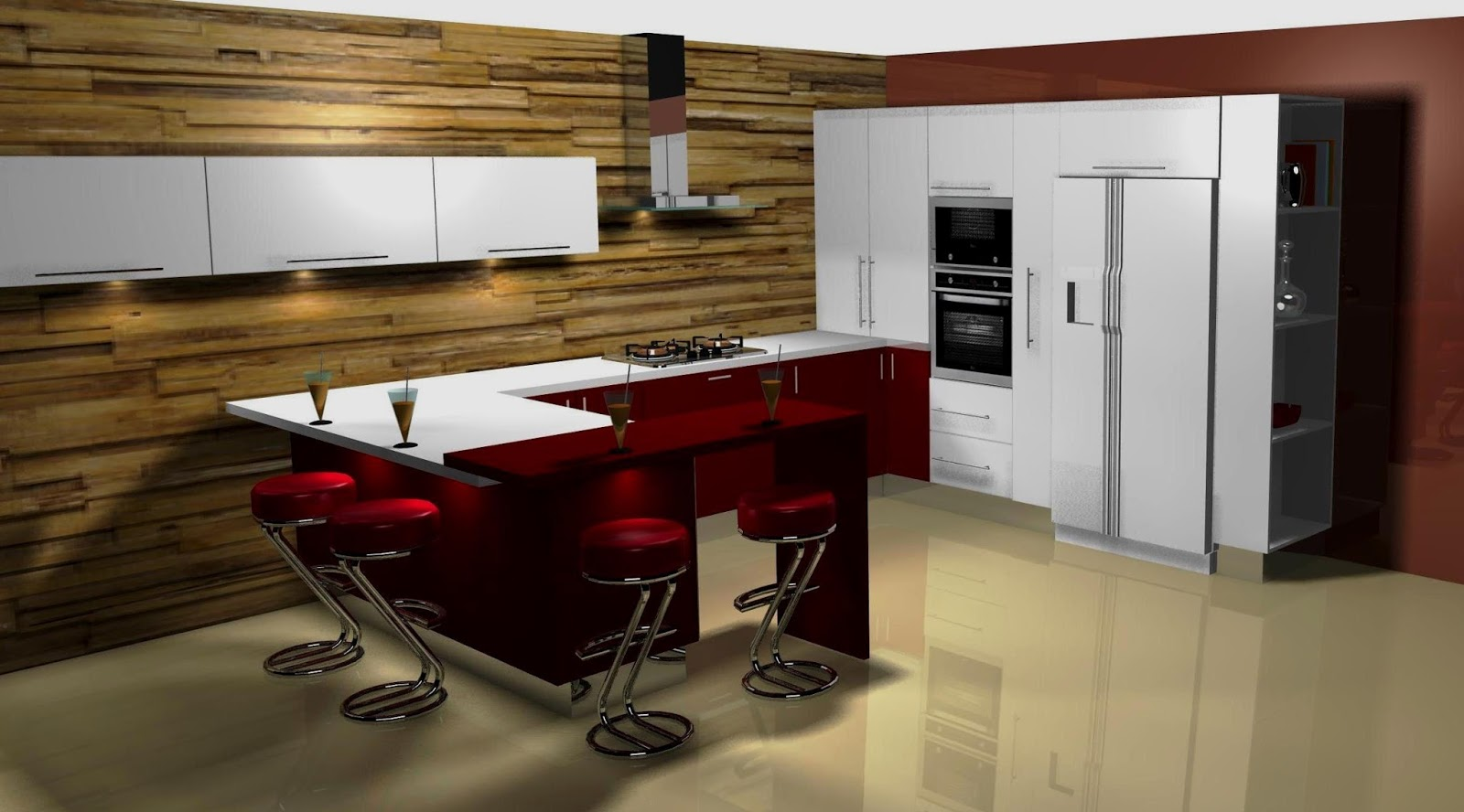 Dise o muebles de cocina dise o de cocina en blanco y burdeos for Cocinas disenos 2016