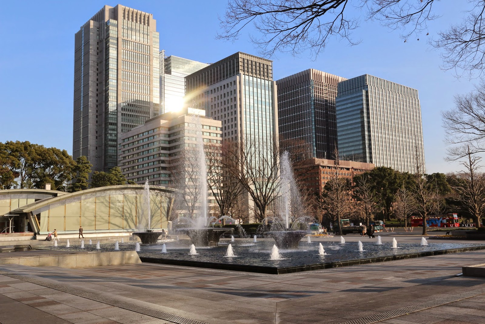 A huge park nearby skyscrapers of Marunouchi business district in Tokyo, Japan