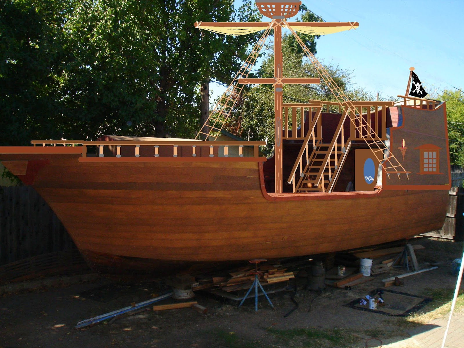 Pirate ship playhouse design,easy woodworking toy projects,heavy duty ...