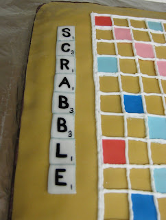 3D Scrabble Board Game Cake - Close-up of SCRABBLE Tiles Title