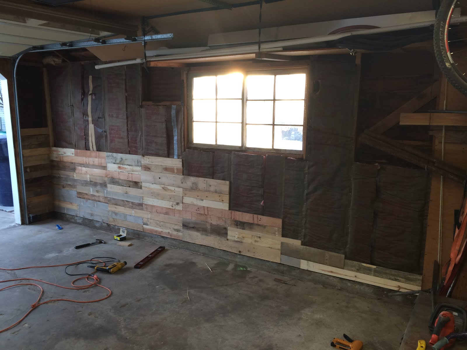 carson 39 s blog garage pallet wood wall build in progress