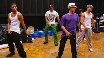 Michael Jackson's – This is it - dancers practice the crotch grab move.
