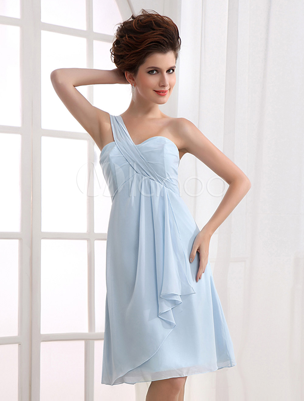 China Wholesale Clothes - Light Blue One-Shoulder A-line Chiffon Prom Dress