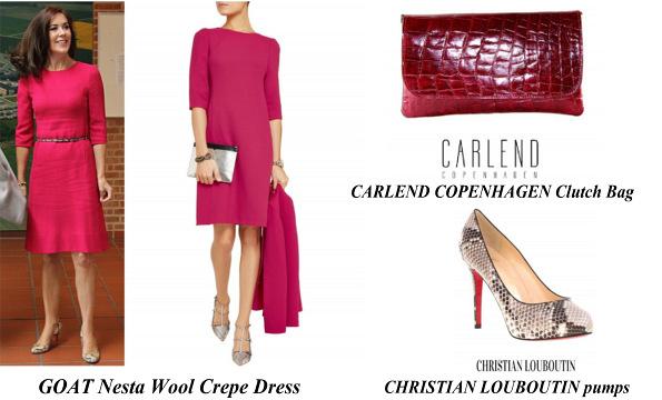 Princess Mary's GOAT Nesta Wool Crepe Dress, CHRISTIAN LOUBOUTIN Pumps, CARLEND COPENHAGEN Clutch Bag