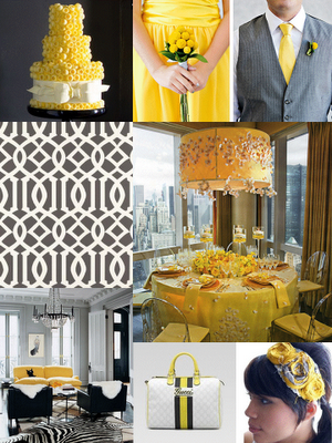 Wedding inspiration yellow and grey decoration combination