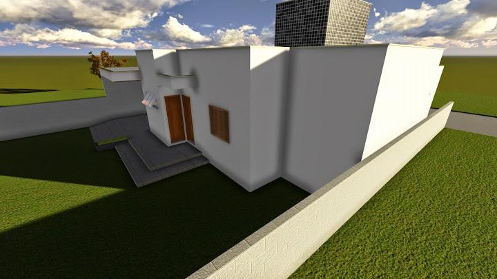 Projeto de residência unifamilar com 2 quartos e uma suíte