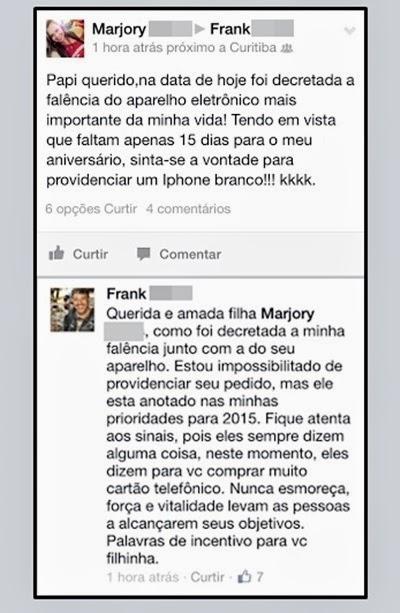 Filha tem resposta do pai de pedido no Facebook
