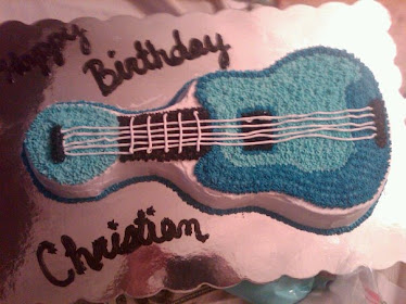 Guitar cake with UNC colors