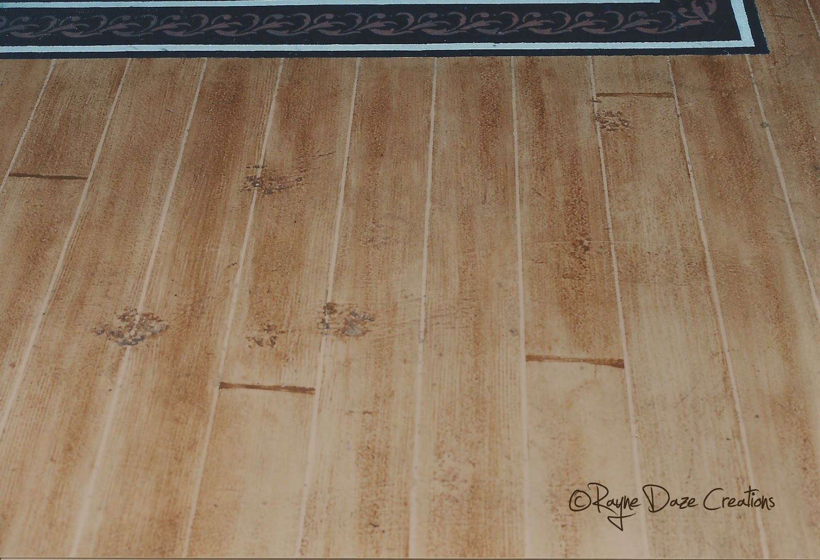Rayne daze creations faux wood painted concrete floor for Simulated wood flooring