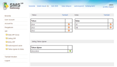 SMS gateway + addon SPP (seting tahun, kelas)