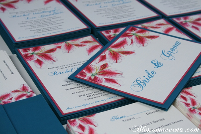 Teal and Pink WeddingStargazer Lily Invitaiton