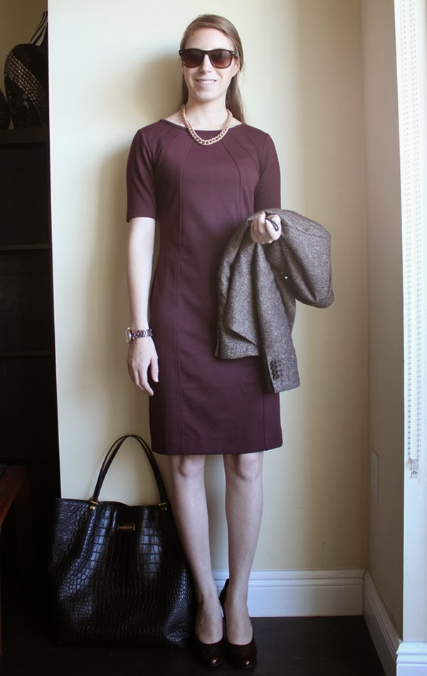 professionally petite, lawyer fashion blog, style blog, petite fashion blog, burgundy sheath dress, tweed blazer, tortoiseshell pumps, wayfarer sunglasses, michael kors tortoiseshell watch, gold curb chain necklace