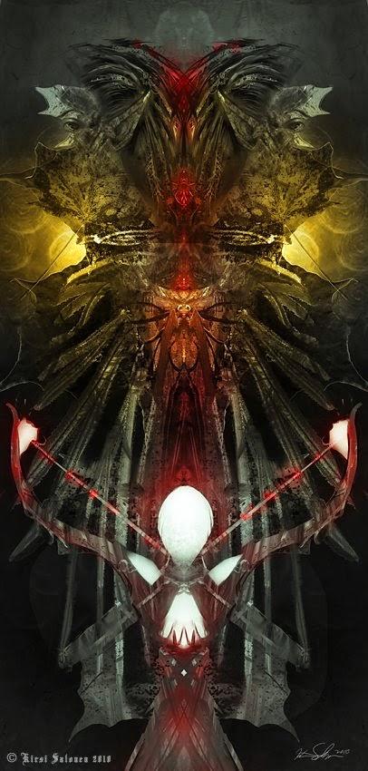 Kirsi Salonen ilustrações fantasia sombria demônios inferno