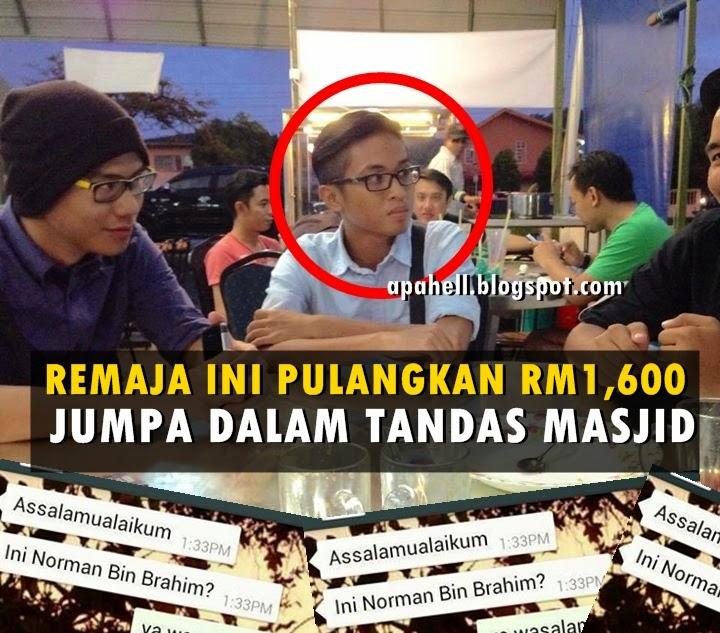 Remaja Ini Pulangkan RM1,600 Yang Dijumpai di Dalam Tandas Masjid - http://apahell.blogspot.com/2015/01/remaja-ini-pulangkan-rm1600-yang.html