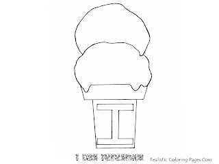 Alphabet Coloring Pages I For ICE CREAM