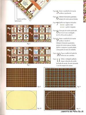 Molde ecobag de tecido - patchwork