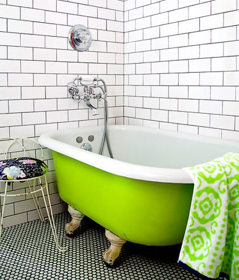 lime green clawfoot bathtub