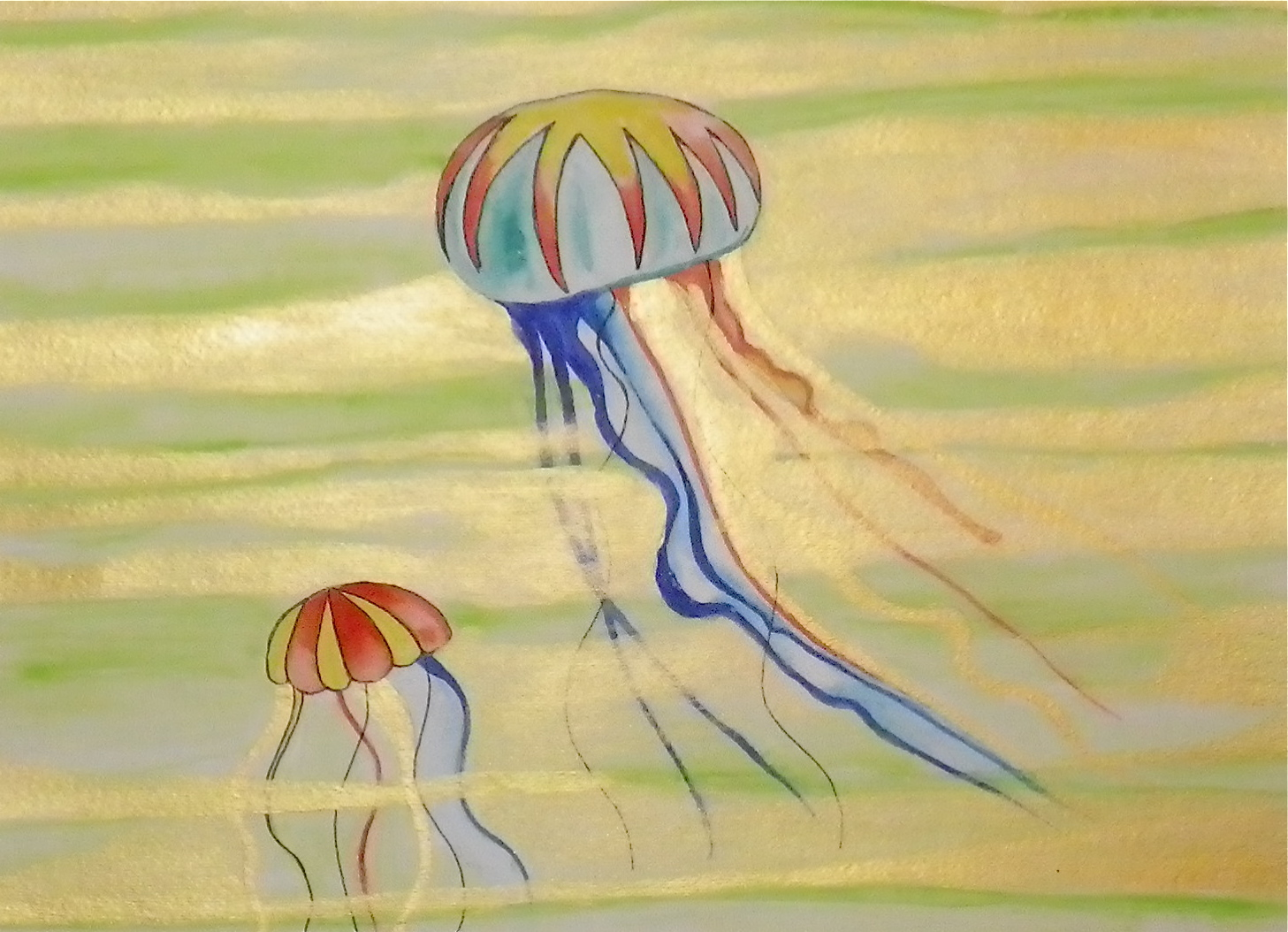 psychedelic waterfall jellyfish paintings