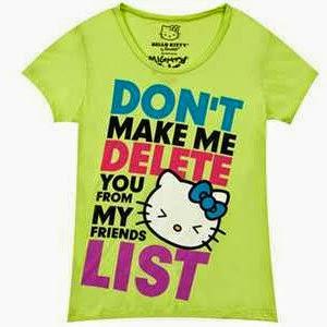 Gambar Baju Hello Kitty Kaos Tangan Pendek Hijau