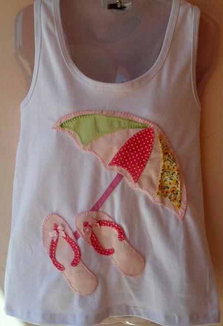 camisetas em Patcholagem com desenho de Praia Verão