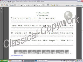 sample of copywork page