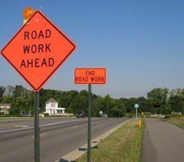 世界最短道路工事区間。