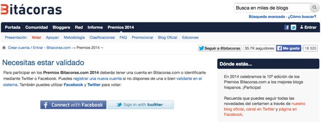 Como votar en los Premios Bitácoras 2014